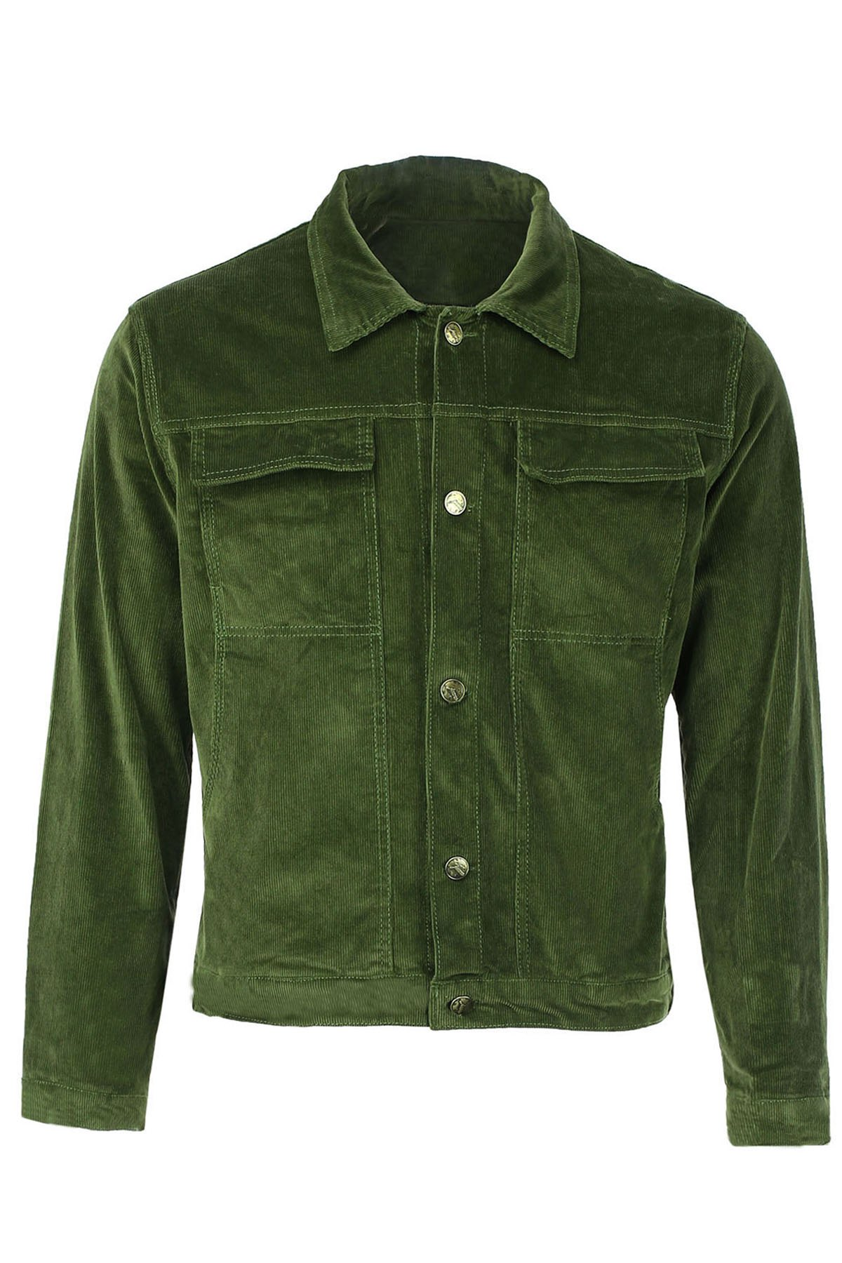 Turn-Down Collar Corduroy Double Jackets Long Sleeve Men's Jacket - GREEN L