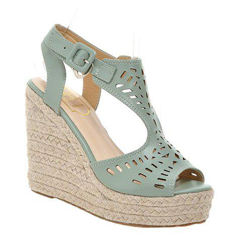 Fashionable Hollow Out and Solid Colour Design Women's Sandals - LIGHT GREEN 34
