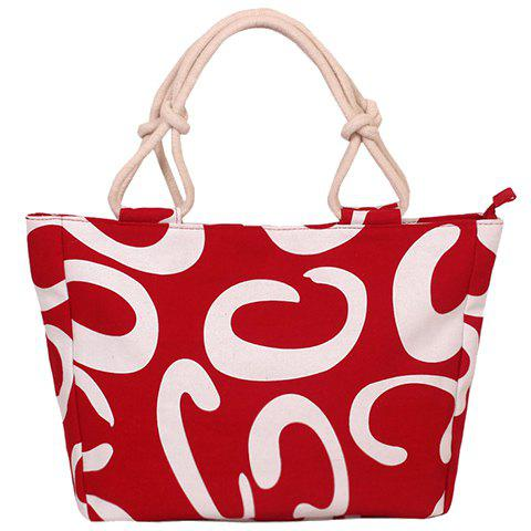Leisure Letter C and Color Block Design Women's Tote Bag - RED