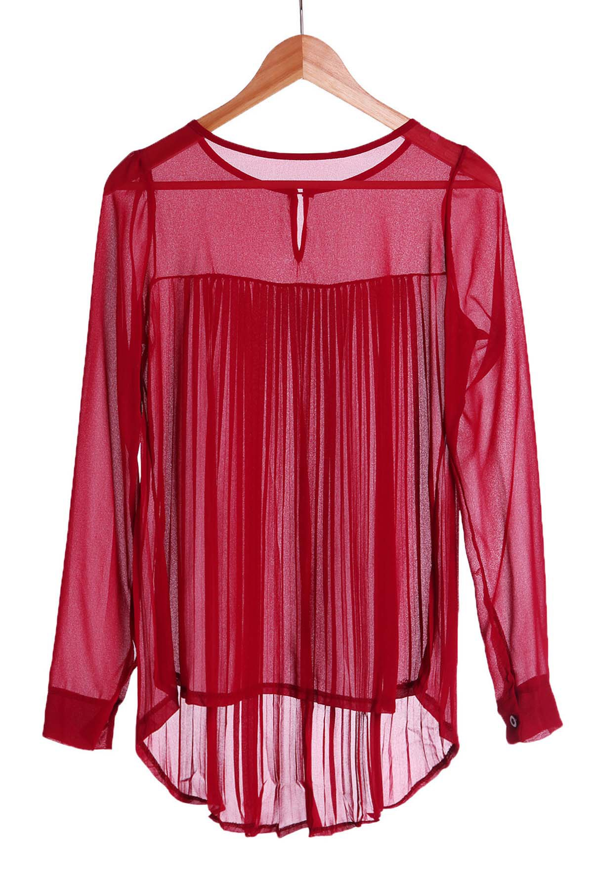 Stylish Women's Round Neck Long Sleeve Pleated Chiffon Blouse - WINE RED S