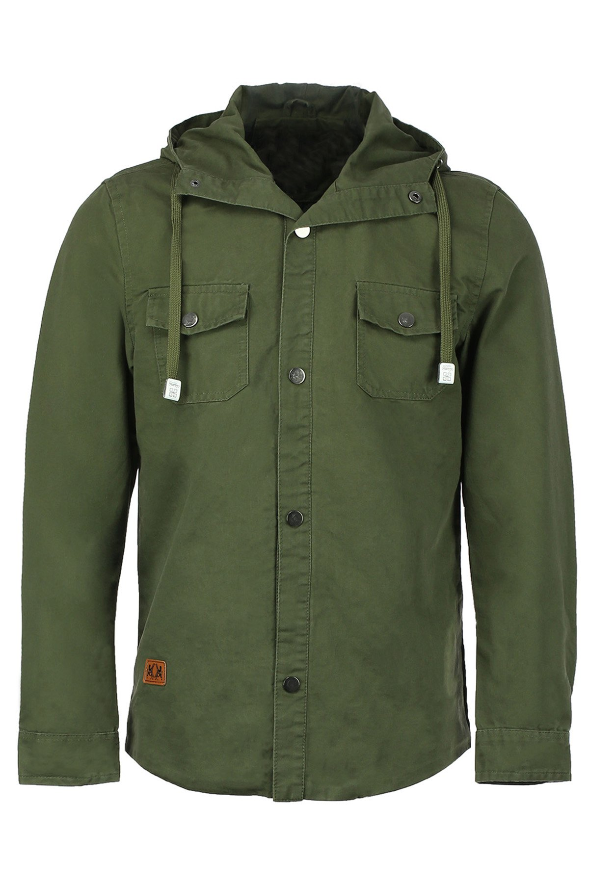 Military Style Hooded Double Pocket Solid Color Long Sleeves Men's Fatigue Jacket