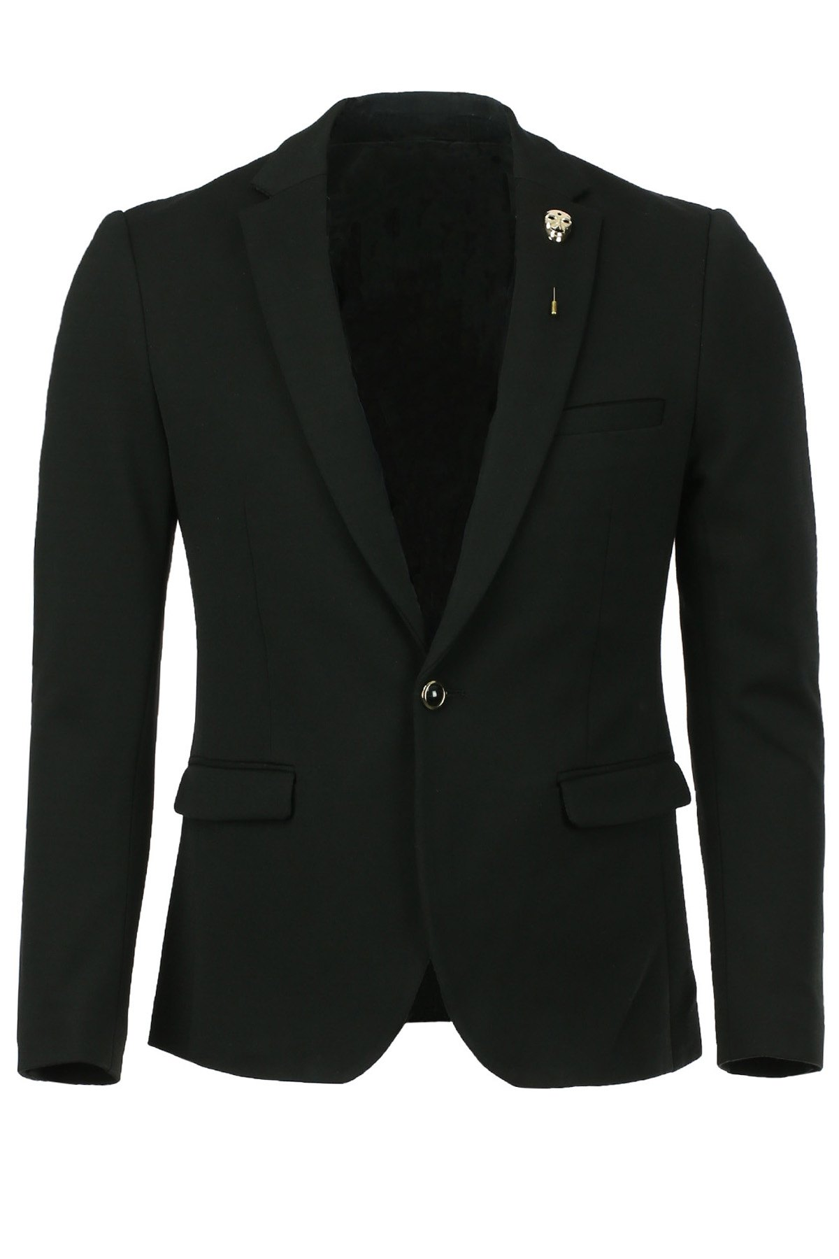 Laconic Stereo Patch Pocket Slimming Lapel Long Sleeves Men's Single-Breasted Blazer - BLACK 2XL