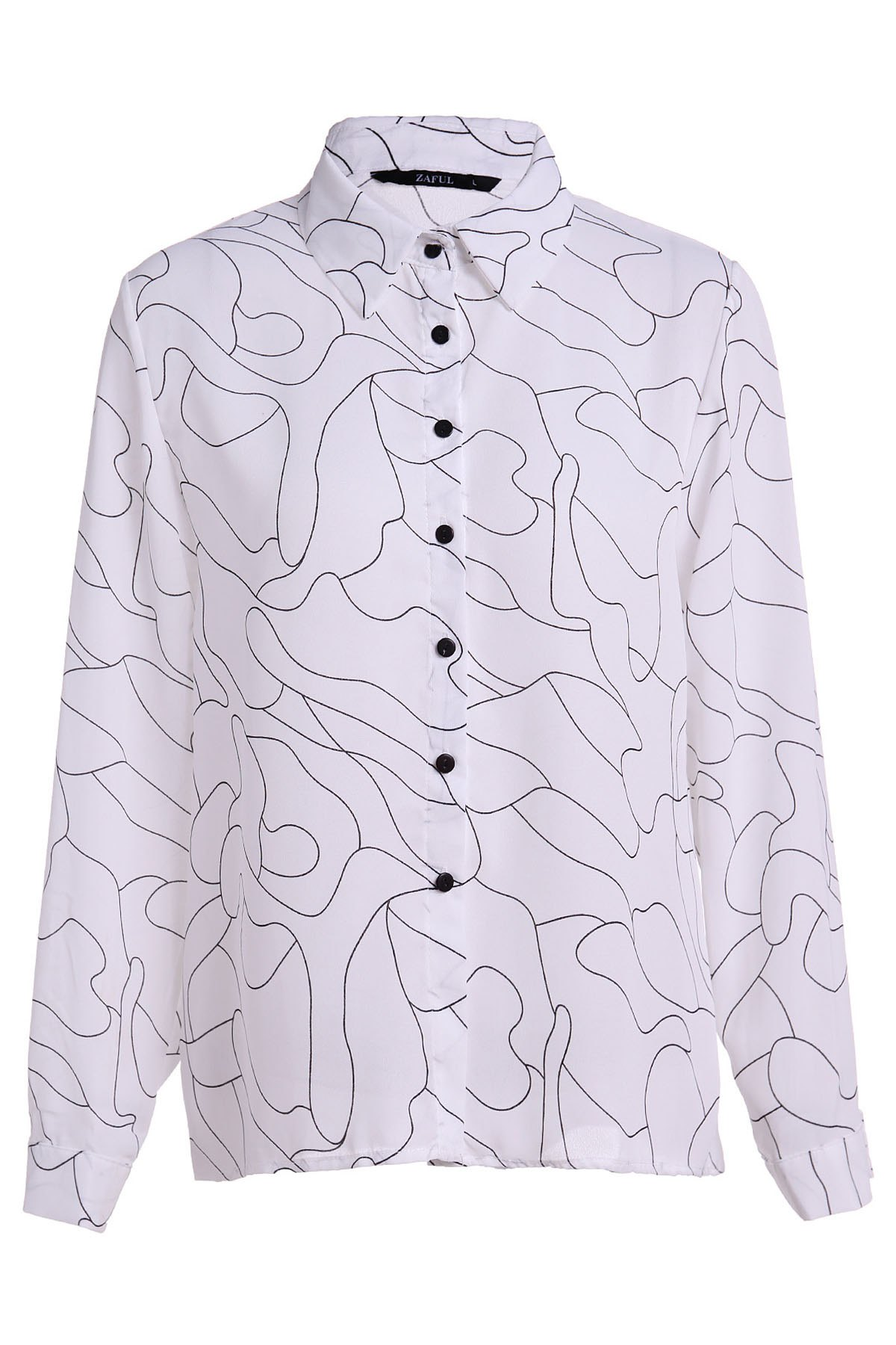 Stripes Print Long Sleeve Formal Shirt - WHITE L