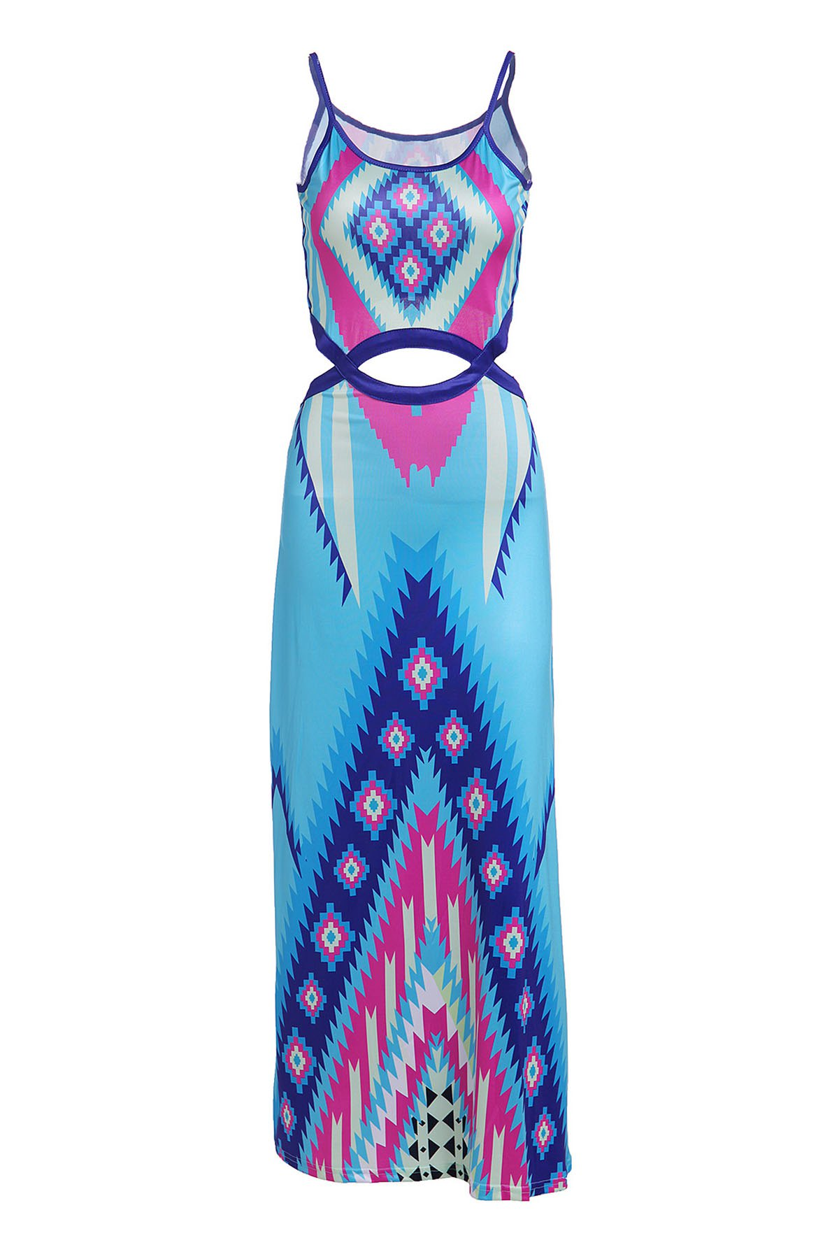 Charming Spaghetti Strap Colorful Printed Waist Cut Out Dress For WomenWomen<br><br><br>Size: L<br>Color: LAKE BLUE