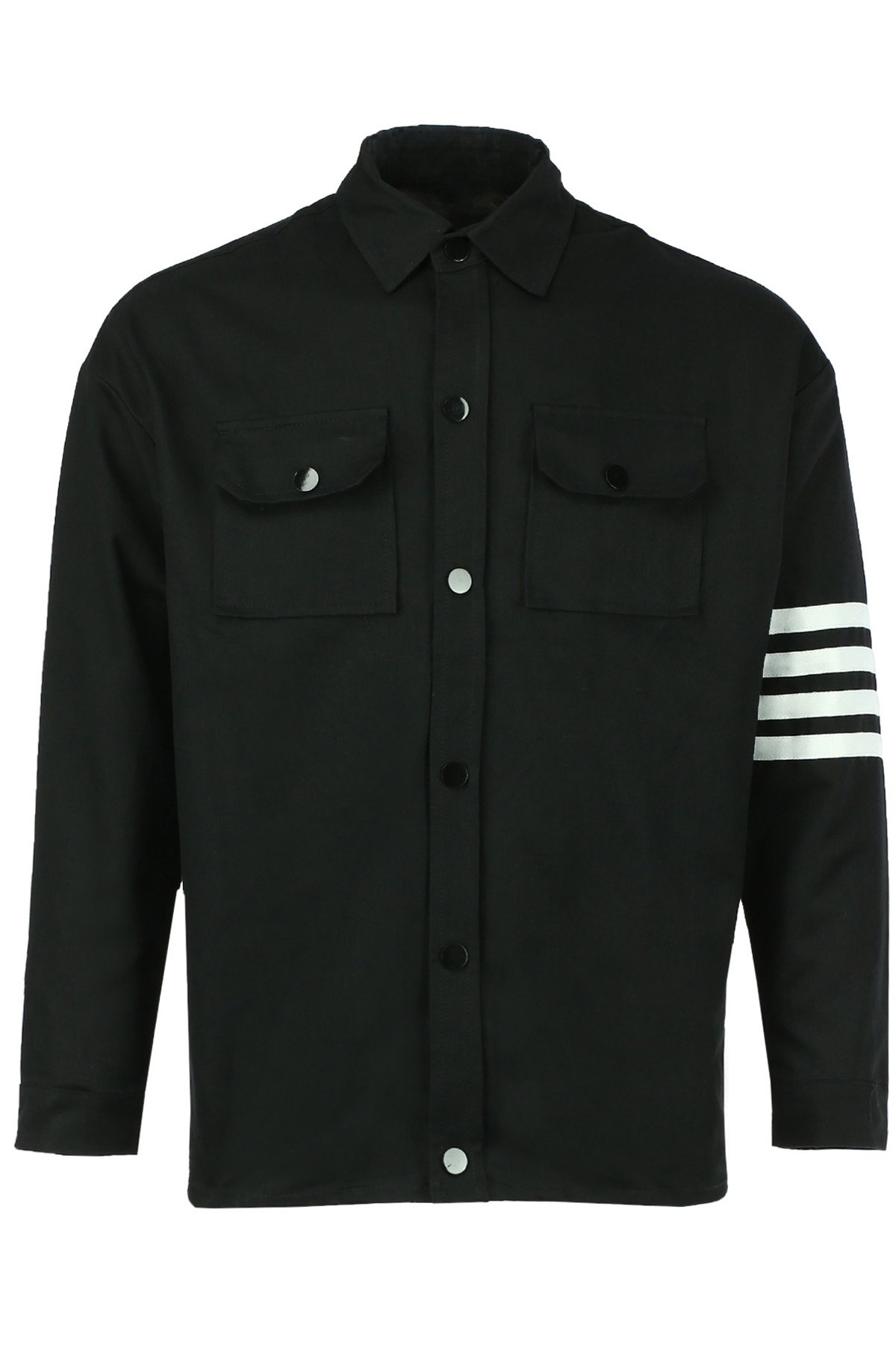 Double Pocket Stripes Spliced Turn-down Collar Long Sleeves Men's Jacket - BLACK L