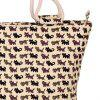 Cute Cat Print and Canvas Design Women's Tote Bag - OFF WHITE