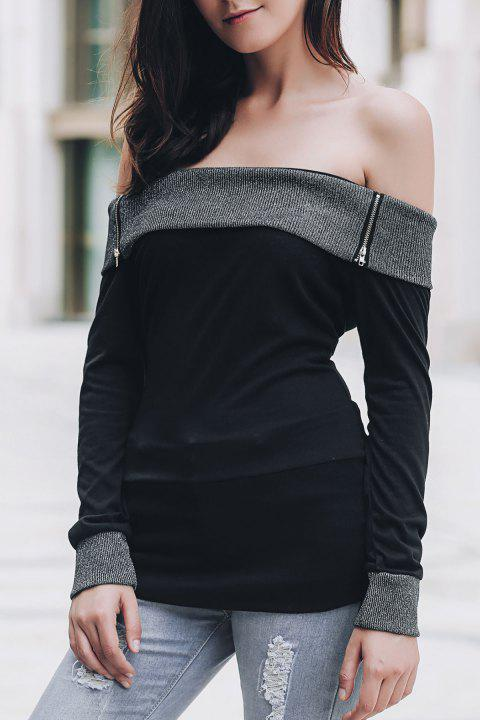 Sexy Off-The-Shoulder Long Sleeve Spliced Slimming Women's T-Shirt - BLACK L