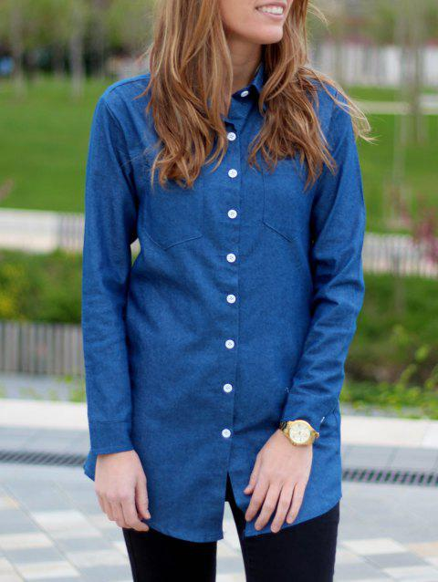 Attractive Solid Color Straight Long Denim Shirt For Women - BLUE M