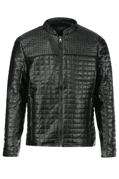 Checked Stand Collar Long Sleeve PU-Leather Slimming Men's Jacket - BLACK L