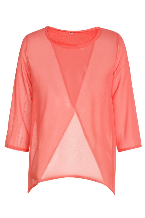 Stylish Round Neck 3/4 Sleeve Furcal Solid Color Women's Chiffon Blouse - ORANGE S