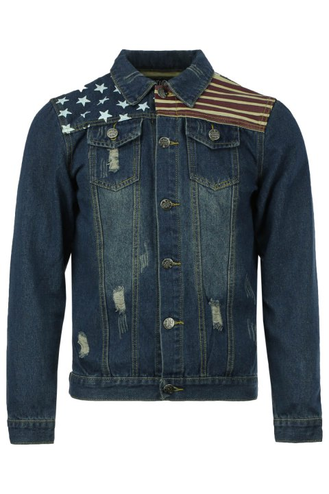 Holes and Cat's Whisker Turn-Down Collar Flag Pattern Long Sleeve Men's Denim Jacket - DEEP BLUE 2XL