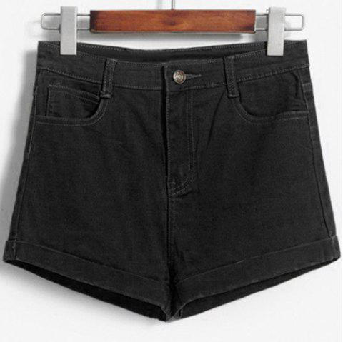 Fashionable Women's Solid Color High-Waisted Shorts - BLACK XL