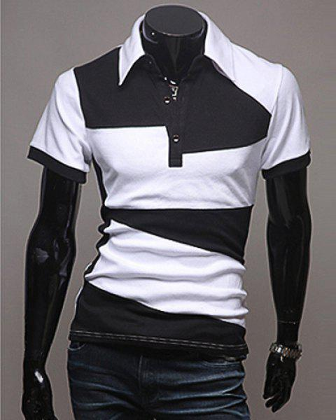Laconic Turn-Down Collar Color Block Spliced Short Sleeve Men's Polo T-Shirt - WHITE 2XL