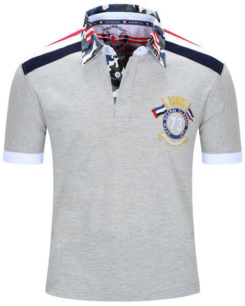 Badge Embroidered Camouflage Spliced Turn-Down Collar Short Sleeve Men's T-Shirt - GRAY M