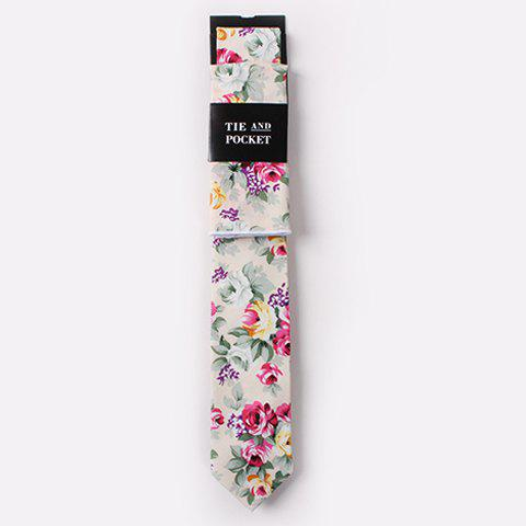 One Set Men's Stylish Flowers and Leaves Pattern Tie and Handkerchief - OFF WHITE