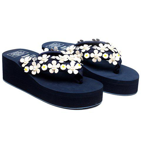 Leisure Faux Pearls and Appliques Design Women's Slippers - DEEP BLUE 39