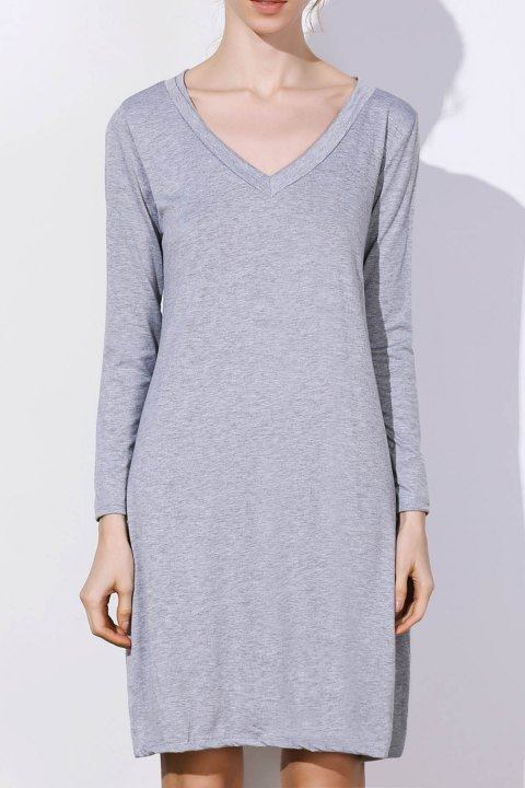 Simple Long Sleeve Plunging Neck Pure Color Women's Dress - GRAY XL