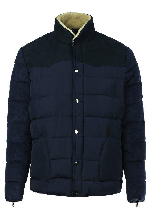 Color Block Splicing Flocking Stand Collar Long Sleeve Men's Cotton-Padded Coat - CADETBLUE 2XL