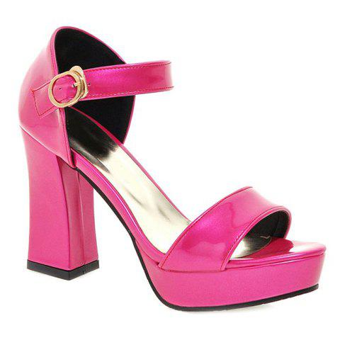 Fashion Patent Leather and Chunky Heel Design Women's Sandals - ROSE 39