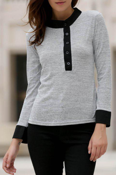 42aef3f027 Stylish Round Neck Long Sleeve Color Block Button Design Women s T-Shirt -  GRAY S