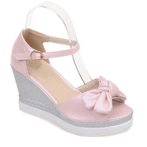 Fashionable Bowknot and Wedge Heel Design Women's Sandals - PINK 37