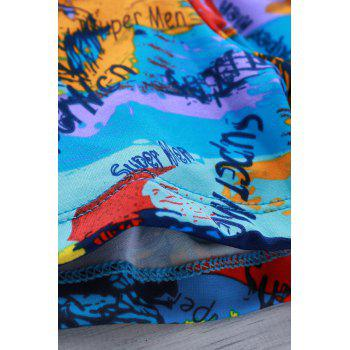 Elastic Colorful Printing Swimming Trunks For Men - 3XL 3XL