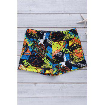 Colorful Printing Elastic Swimming Trunks For Men - COLORFUL XL