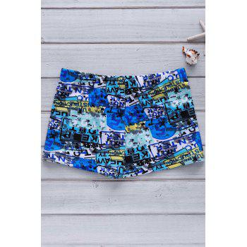 Men's Colorful Printing Elastic Swimming Trunks - COLORMIX XL