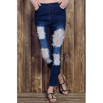 Chic Rose Print See-Through Lace Spliced Ripped Jeans For Women - M M