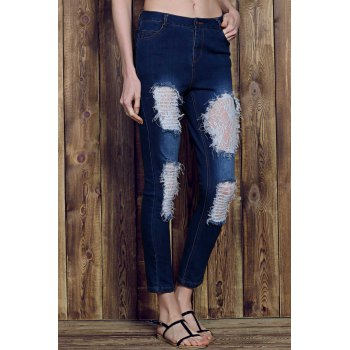 Chic Rose Print See-Through Lace Spliced Ripped Jeans For Women - DEEP BLUE M