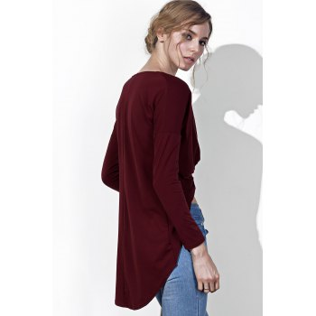 Chic Plunging Neck Twist Pleated Asymmetric Solid Color Blouse For Women - WINE RED S