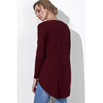 Chic Plunging Neck Twist Pleated Asymmetric Solid Color Blouse For Women - WINE RED L