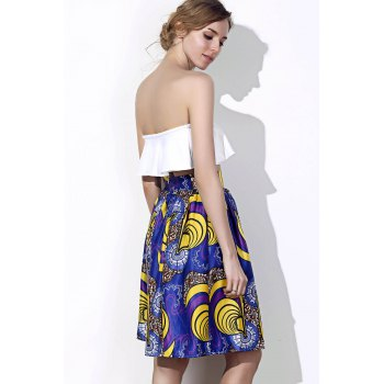Vintage Printed High-Waisted Women's Pleated Skirt - COLORMIX S