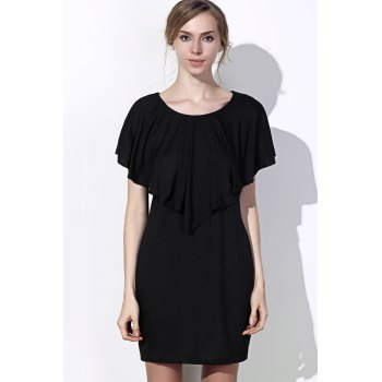 Fashionable Women's Scoop Neck Solid Color Short Sleeve Dress - BLACK XL