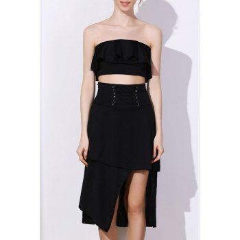 Stylish High-Waisted Lace-Up Solid Color Asymmetrical Women's Skirt