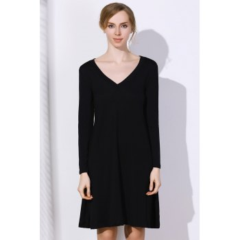 Simple Long Sleeve Plunging Neck Pure Color Women's Dress