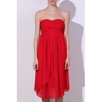 Charming Women's Strapless Solid Color Ruched Dress