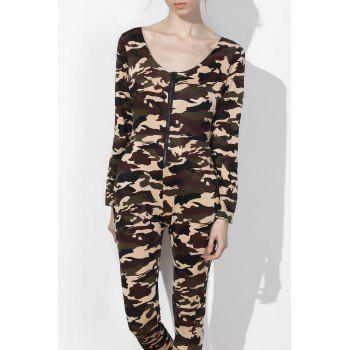 Sexy Camo Plunging Neck Long Sleeve Jumpsuit For Women