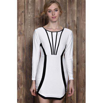 Active Color Block Long Sleeve Bodycon Mini Dress For Women - WHITE XL