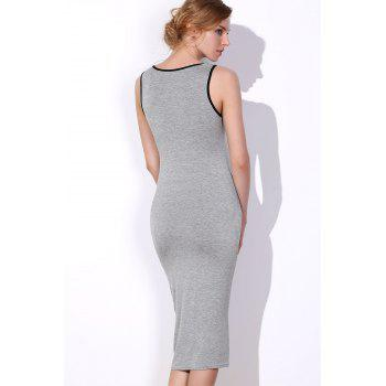 Fashionable Women's Scoop Neck Sleeveless Letter Printed Bodycon Dress - GRAY ONE SIZE(FIT SIZE XS TO M)