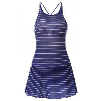 Sweet Striped Backless Flounced One-Piece Swimwear For Women
