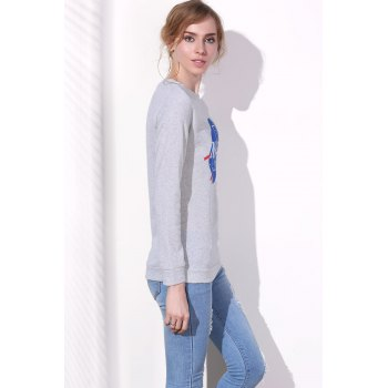 Simple Style Letter and Universe Printed Pullover Sweatshirt For Women - GRAY M
