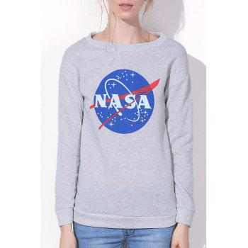 Simple Style Letter and Universe Printed Pullover Sweatshirt For Women