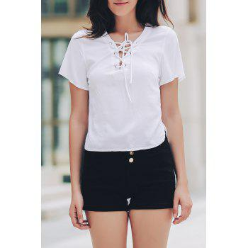 Stylish V-Neck Short Sleeve Solid Color Lace-Up Women's T-Shirt