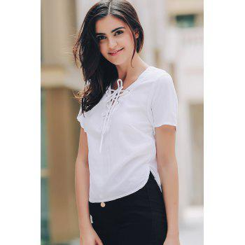 Stylish V-Neck Short Sleeve Solid Color Lace-Up Women's T-Shirt - WHITE ONE SIZE(FIT SIZE XS TO M)