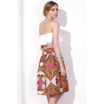 Women's Chic High Waist Color Block Geometrical Print A-Line Skirt - L L