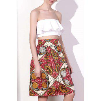 Women's Chic High Waist Color Block Geometrical Print A-Line Skirt - COLORMIX L