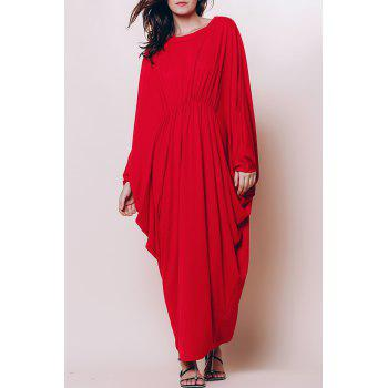 Stylish Round Neck Batwing Sleeve Loose-Fitting Women's Maxi Dress