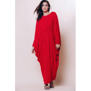 Stylish Round Neck Batwing Sleeve Loose-Fitting Women's Maxi Dress - RED S