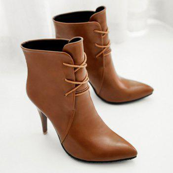Stylish Solid Colour and Pointed Toe Design High Heel Boots For Women - BROWN 39